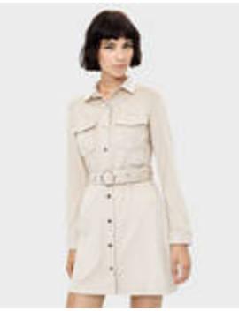 Faux Suede Dress With Belt by Bershka