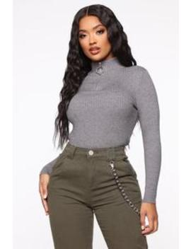 Need To Know You Quarter Zip Sweater   Heather Grey by Fashion Nova