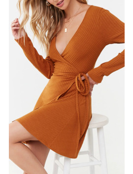 Ribbed Wrap Mini Dress by Forever 21