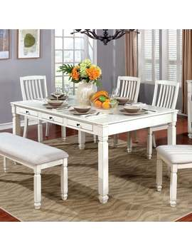 Aubrie Contemporary Antique White Dining Table By Foa   Antique White by Furniture Of America