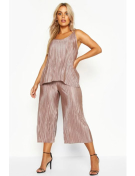 Plus Plisse Swing Cami + Culotte Co Ord by Boohoo