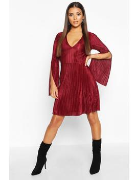 Pleated V Neck Frill Hem Skater Dress by Boohoo