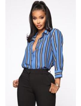 Stripes On Stripes Button Down Shirt   Blue by Fashion Nova