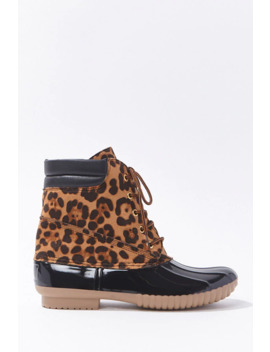 Faux Suede Leopard Print Duck Boots by Forever 21