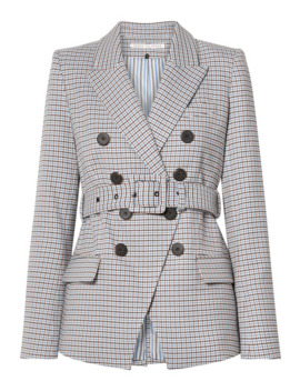Harvey Belted Houndstooth Woven Blazer by Veronica Beard
