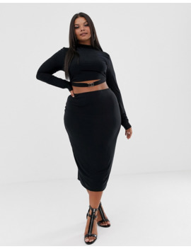 Fashionkilla Plus High Neck Crop Top With Buckle Detail Two Piece In Black by Fashionkilla's