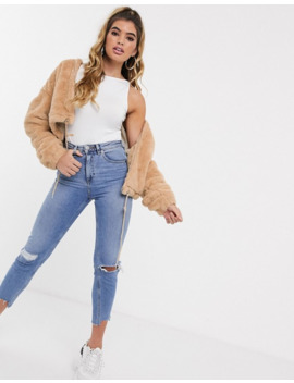 Missguided   Bomber Court En Fausse Fourrure   Sable by Missguided