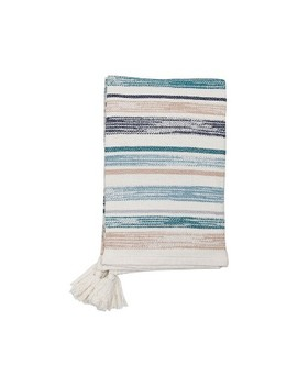 Hand Woven Multi Hayes Throw Blue by Foreside Home & Garden