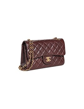 "Chanel Brown Lambskin 2.55 9"" Flap Bag by What Goes Around Comes Around"