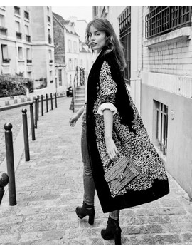 Leopard Velvet Kimono With Embroidered Pearls by The Kooples