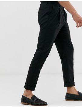 Topman Skinny Smart Pants In Black With Turn Up Hem by Topman