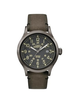 Men's Timex Expedition® Scout Watch With Leather Strap   Gray/Brown Tw4 B017009 J by Timex