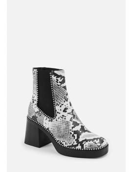 White Mock Croc Ball Trim Heeled Chelsea Boots by Missguided