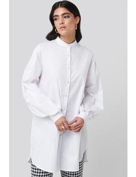 Oversized Cotton Shirt Dress Blanc by Nakdclassic