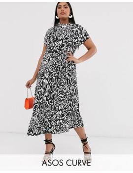 Asos Design Curve Cowl Neck Tie Waist Maxi Dress In Mono Animal by Asos Design