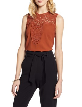 Lace & Crepe Top by Halogen