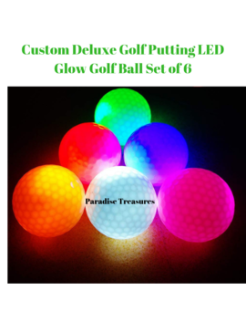 Led Glow Golf Balls, Personalized Practice Light Up Golf Ball Glow In Dark For Women Men, Colored Novelty Funny Night Golf Balls Bulk (Pack Of 6) by Paradise Treasures