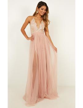 Vision Of Beauty Maxi Dress In Blush Glitter by Showpo Fashion