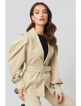 Puff Sleeve Belted Blazer Beige by Na Kd Trend
