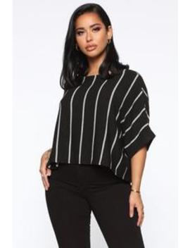 Skylar Striped Top   Black/Combo by Fashion Nova