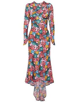 Floral Print Silk Satin Midi Dress by Attico