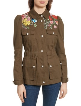 Huxley Floral Embroidered Safari Jacket by Veronica Beard