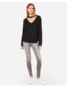 Choker Neck Fleece Sweatshirt by Express