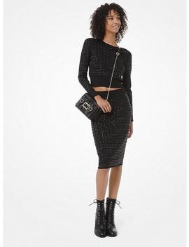 Studded Knit Pencil Skirt by Michael Michael Kors