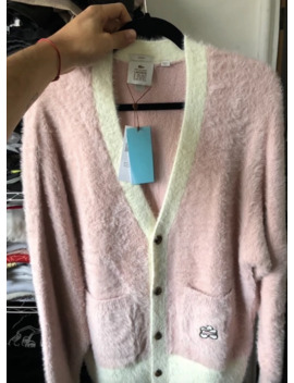 Golf Le Fleur X Lacoste Pink Mohair Cardigan by Lacoste  ×  Golf Wang  ×