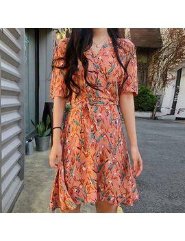 Ki Ti   Elbow Sleeve Floral Print A Line Dress by Ki Ti