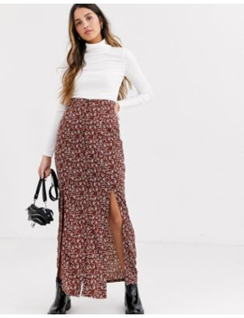 Daisy Street Maxi Skirt With Front Split In Vintage Floral by Daisy Street