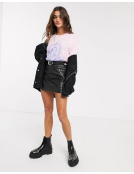 Bershka Western Belted Faux Leather Mini Skirt In Black by Bershka