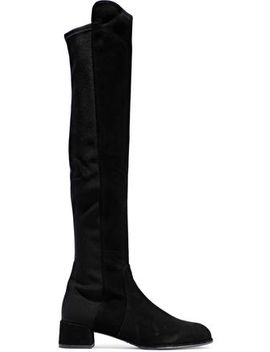 Suede And Stretch Knit Knee Boots by Stuart Weitzman