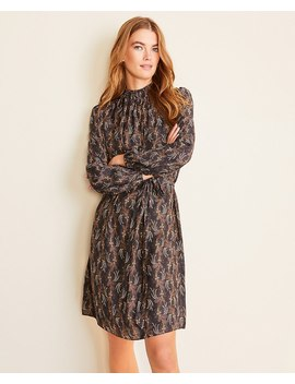 Floral Smocked Neck Belted Flare Dress by Ann Taylor