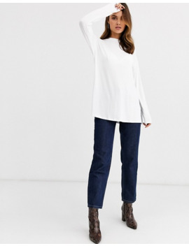 Asos Design Longline Top With Long Sleeve In Textured Jersey In White by Asos Design