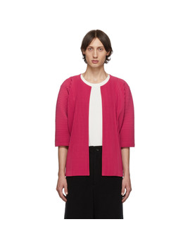 Pink Pleated Open Front Cardigan by Homme PlissÉ Issey Miyake
