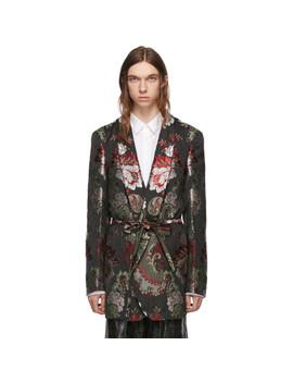 Black & Multicolor Floral Belted Blazer by Comme Des GarÇons Homme Plus