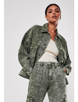 Khaki Co Ord 80's Oversized Denim Jacket by Missguided
