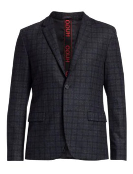 Harelto Slim Fit Sparkle Windowpane Single Breasted Jacket by Hugo