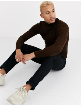 Asos Design Muscle Fit Ribbed Roll Neck Sweater In Brown by Asos Design