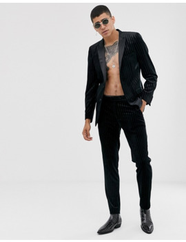 Asos Design Skinny Suit Jacket In Glitter Velvet Stripe by Asos Design