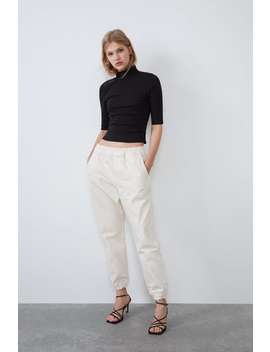Ribbed High Collar Top by Zara