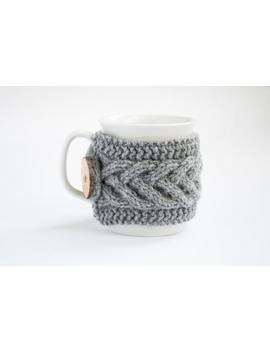 Cup Cozy In Grey, Knitted Mug Cozy, Coffee Cozy, Tea Cup Cozy, Handmade Wooden Button, Coffee Cozy Sleeve, Warmer, Winter, Gift by Etsy