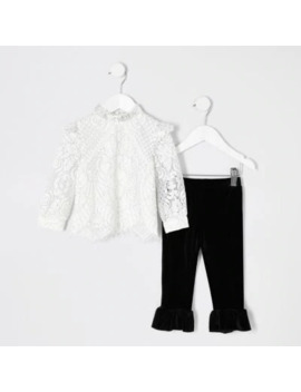 Mini Girls Cream Lace Top And Legging Outfit by River Island