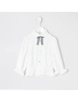 Mini Girls White Bow Collar Shirt by River Island
