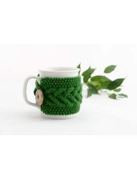 Cup Cozy In Forest Green, Knitted Mug Cozy, Coffee Cozy, Tea Cup Cozy, Handmade Wooden Button, Coffee Cozy Sleeve, Warmer, Winter, Gift by Etsy