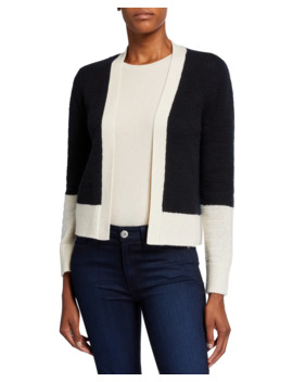 Cashmere Colorblock Long Sleeve Cardigan by Neiman Marcus Cashmere Collection