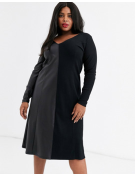 Asos Design Curve Half And Half Rib Leather Look Dress by Asos Design