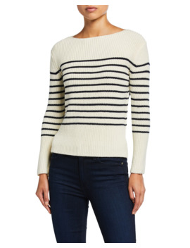 Striped Wool Boat Neck Sweater by Atm Anthony Thomas Melillo