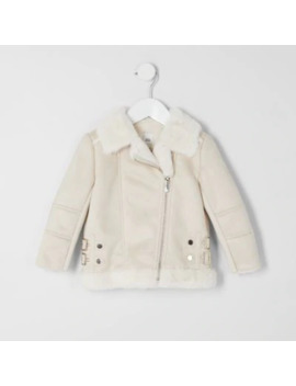 Mini Girls Cream Faux Suede Aviator Jacket by River Island